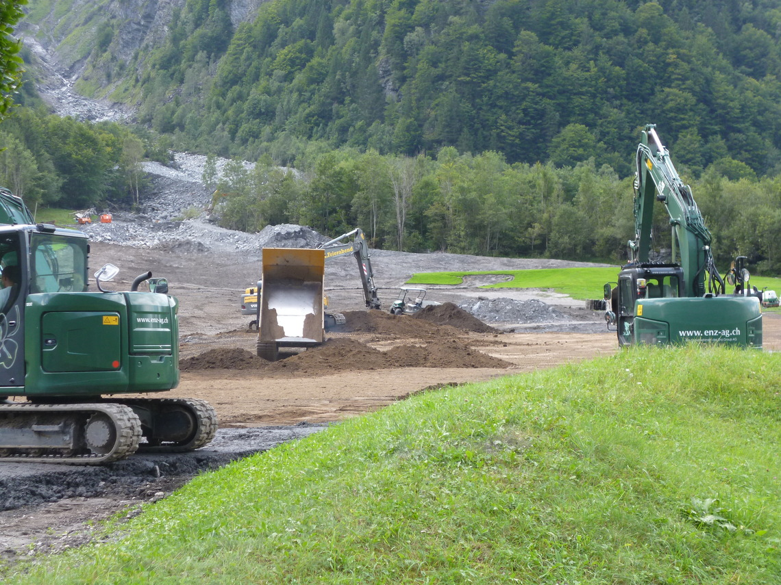 Re-construction of several golf holes in mid-August