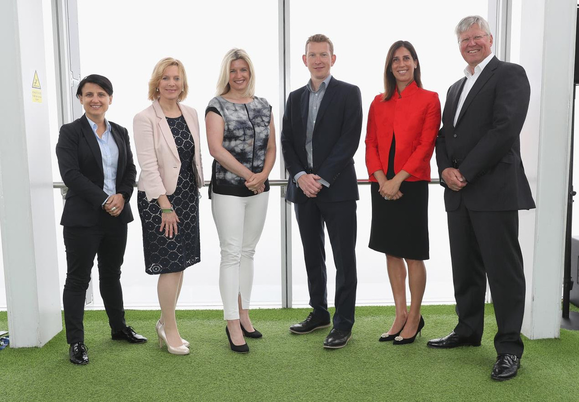 Speakers Chyloe Kurdas (Golf Australia), Hazel Irvine (BBC), Sarah Stirk (Sky Sports), Nick Pink (England Golf), Liz Dimmock (Moving Ahead) and Martin Slumbers (The R&A) at the launch of the Women in Golf Charter staged at The View from the Shard, London.