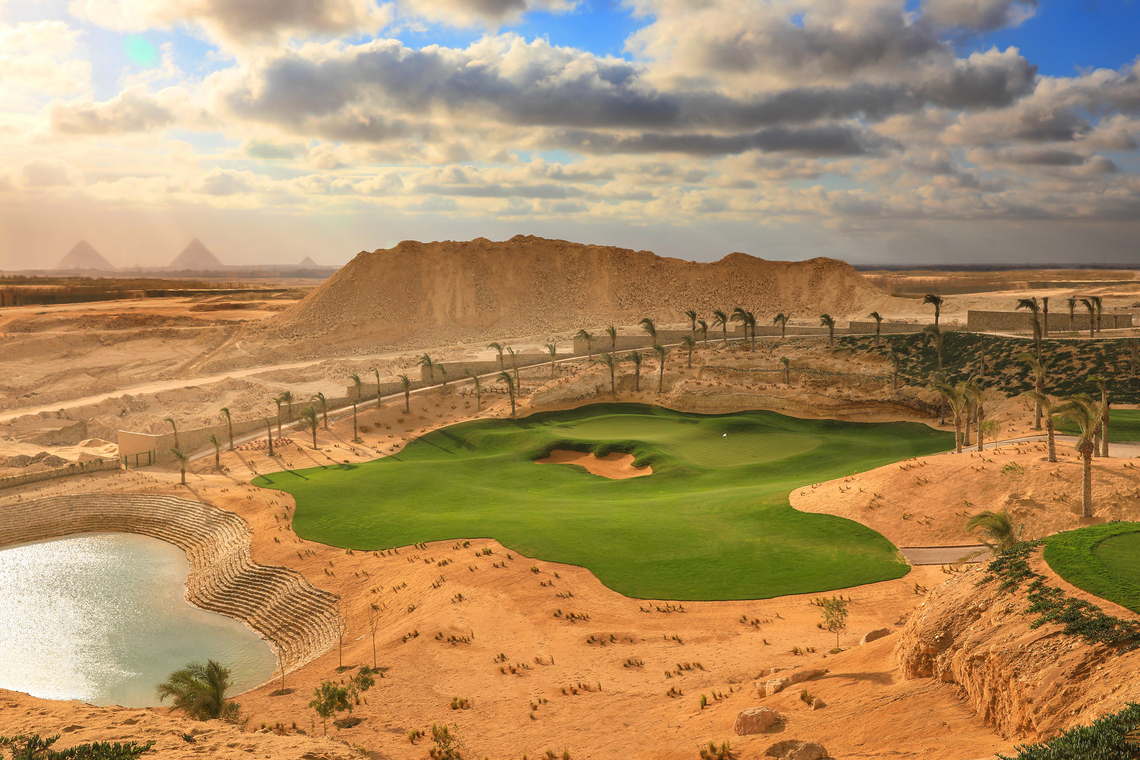 NEWGIZA - The dramatic par 3, 4th hole with Pyramids as backdrop.