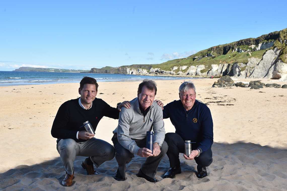 (L-R) Anders Jacobson, co-founder and CEO of Blue, Tom Watson, Global Ambassador for The Open, and Martin Slumbers, Chief Executive of The R&A, launch The Open Water initiative at Portrush.  ©R&A