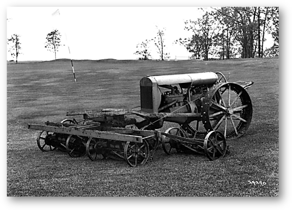 1919 First mechanized golf mower