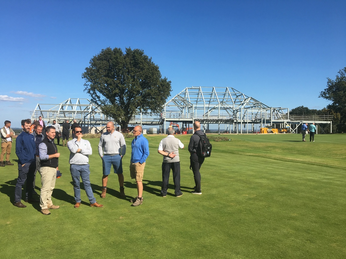 Jonathan Gaunt shows visiting Course Managers around the redevelopment