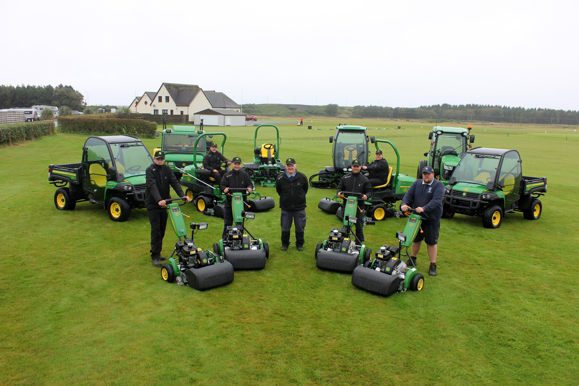 The Glasgow Gailes greenkeeping team with their new John Deere machinery fleet (left to right): Andrew Moffat, Adam Robertson, Steven Clark, first assistant John Crighton (centre), Brian Dickson Jr, William Lochrie and William Murray.