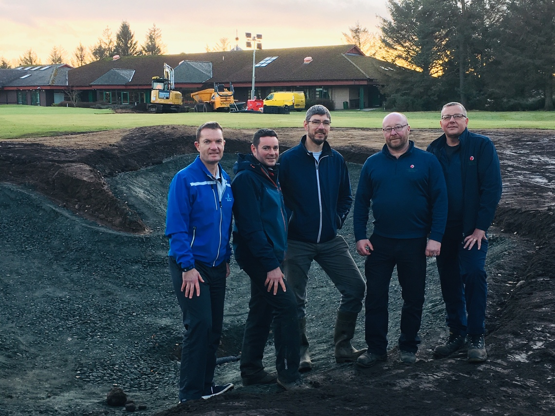 Pictured (from left): Ladybank head pro Sandy Smith, Niall Glen, golf architect, Paul Kimber, golf architect, Colin Powrie, course manager and assistant manager Mike Ewan assess progress around the 18th green.