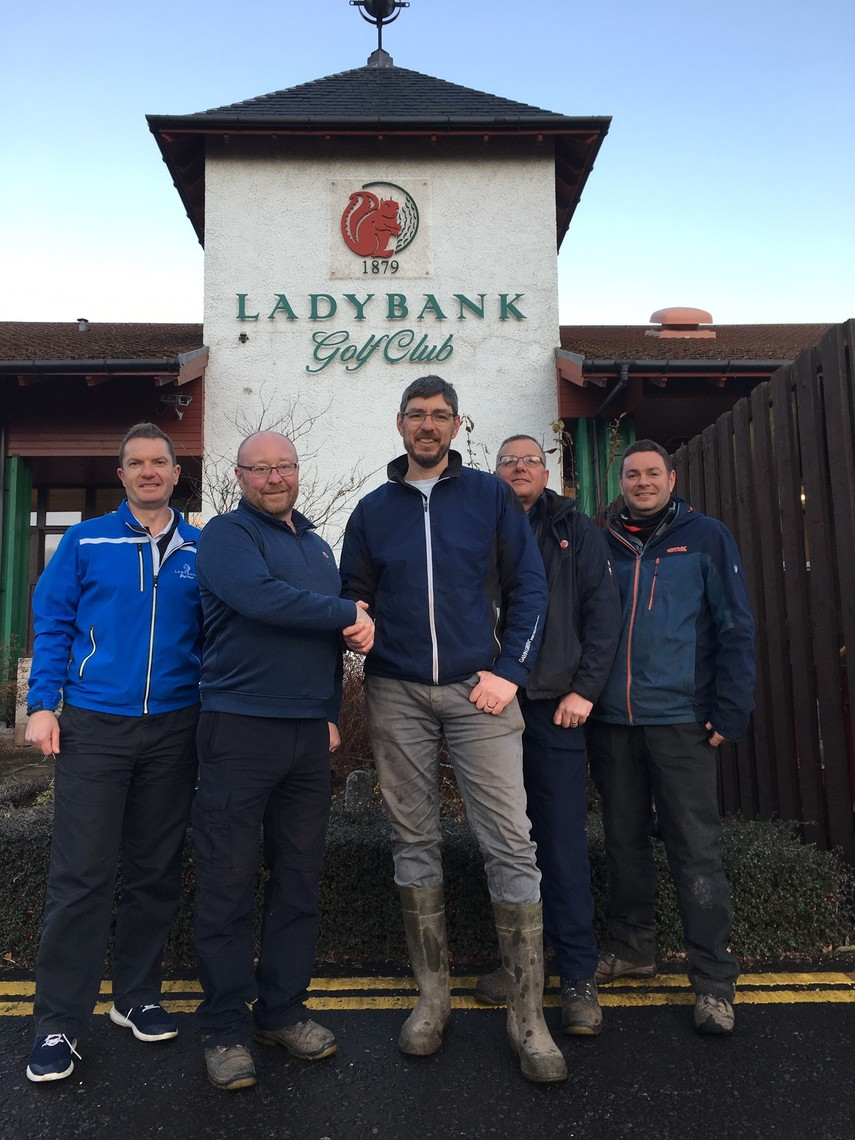Pictured (from left): Sandy Smith, Ladybank head pro, Colin Powrie, course manager, Paul Kimber, golf architect, Mike Ewan, assistant course manager and Niall Glenn, golf architect.