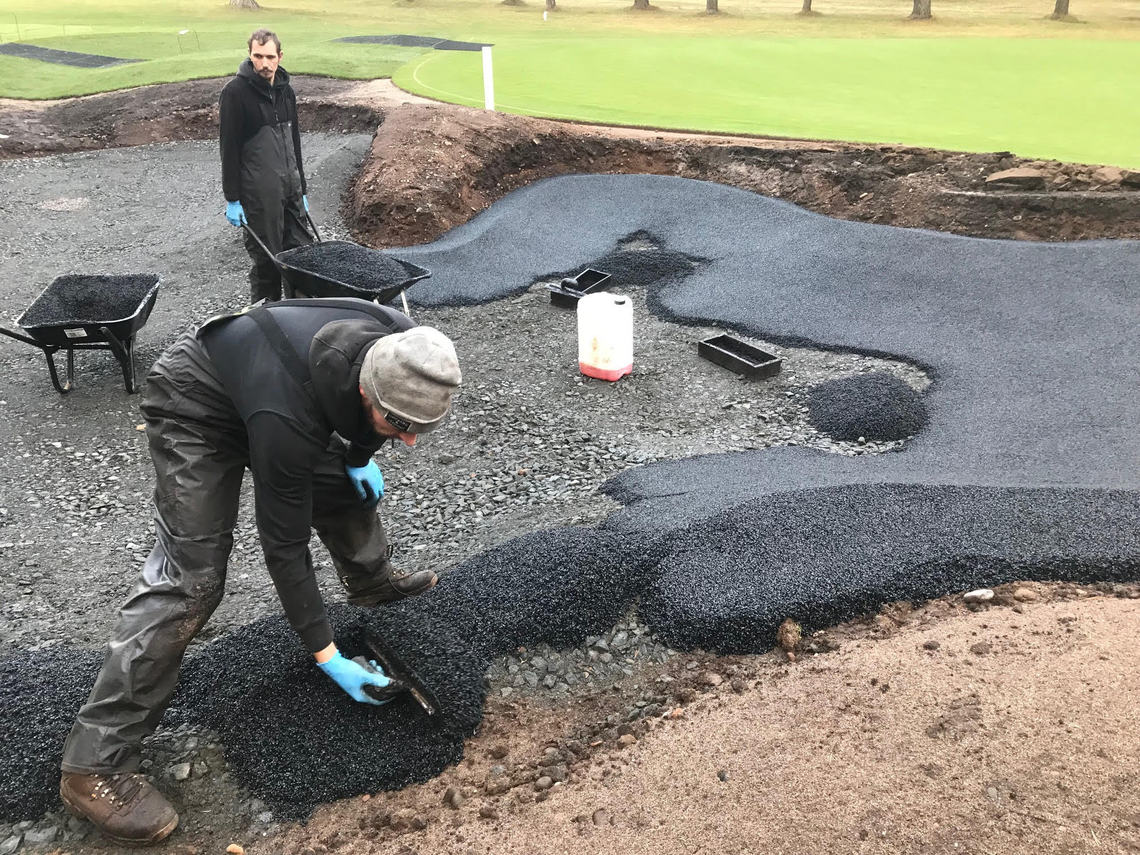 Greenkeepers at work on the 8th at Ladybank