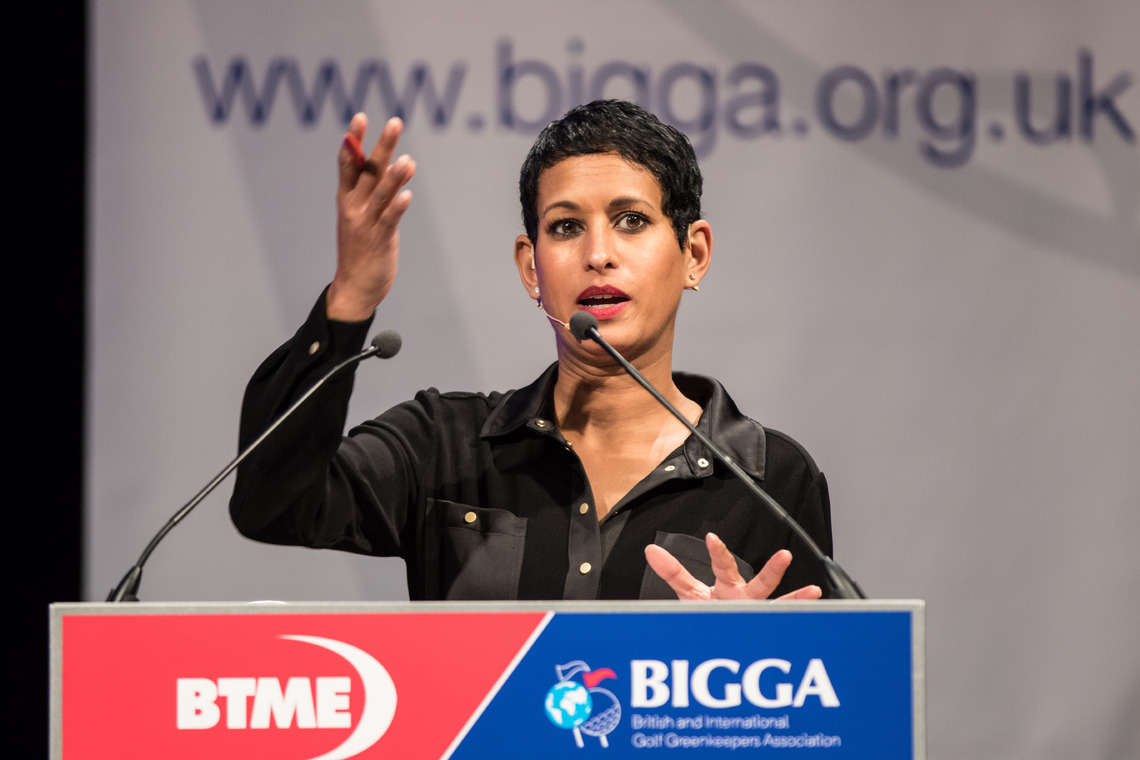 Naga Munchetty, BBC Presenter, chairs the Continue to Learn panel session ©BIGGA