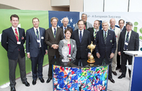 Solheim Cup Captain Alison Nicholas and MEP James Elles with the EGA Golf Course Committee at the European Parliament